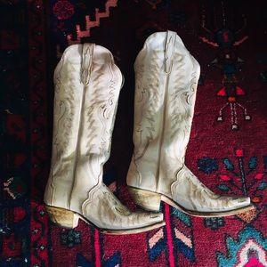 Dan Post Hallie cream cowboy tall boots 9.5